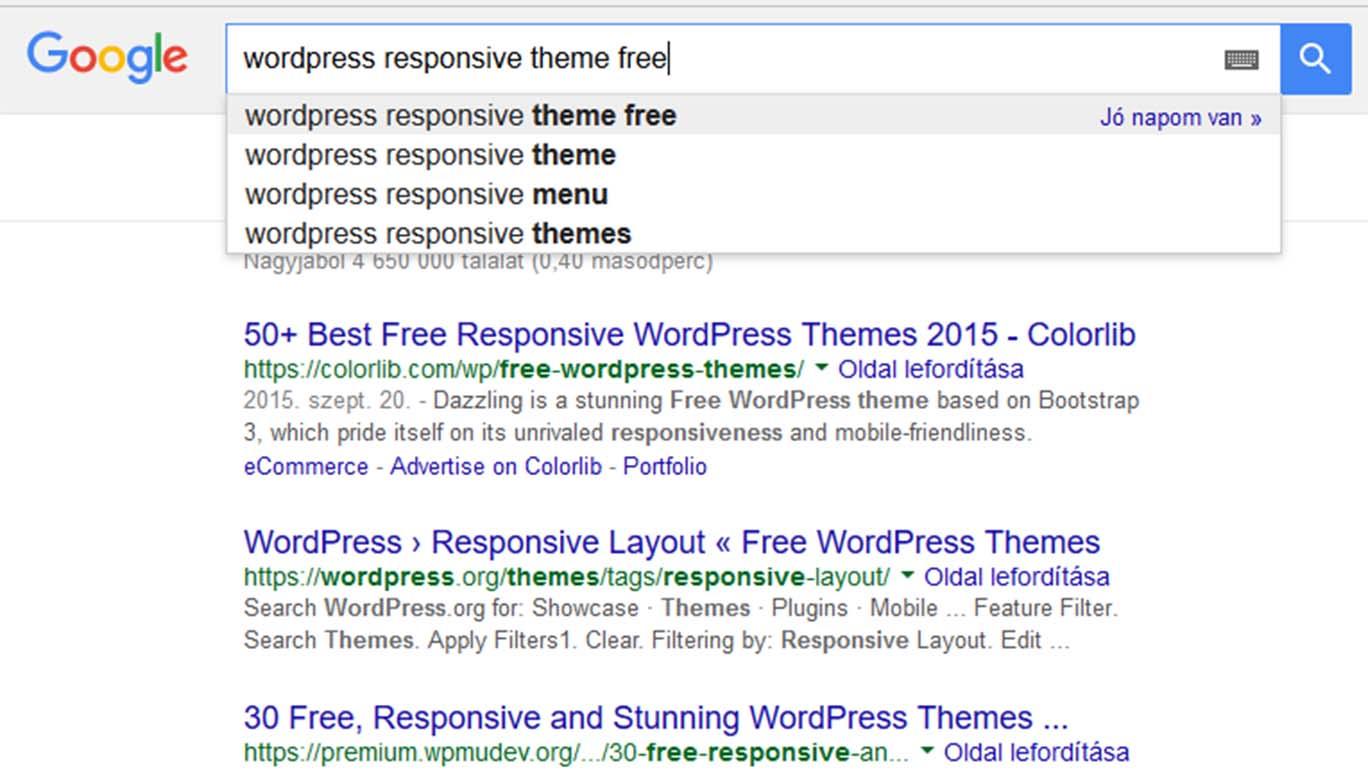 Wordpress-szel kapcsolatos Google keresés
