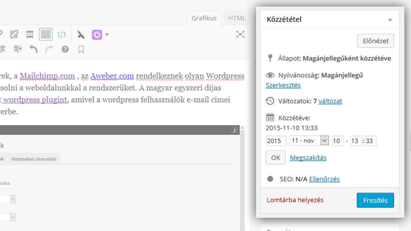 Wordpress post és page időzítés