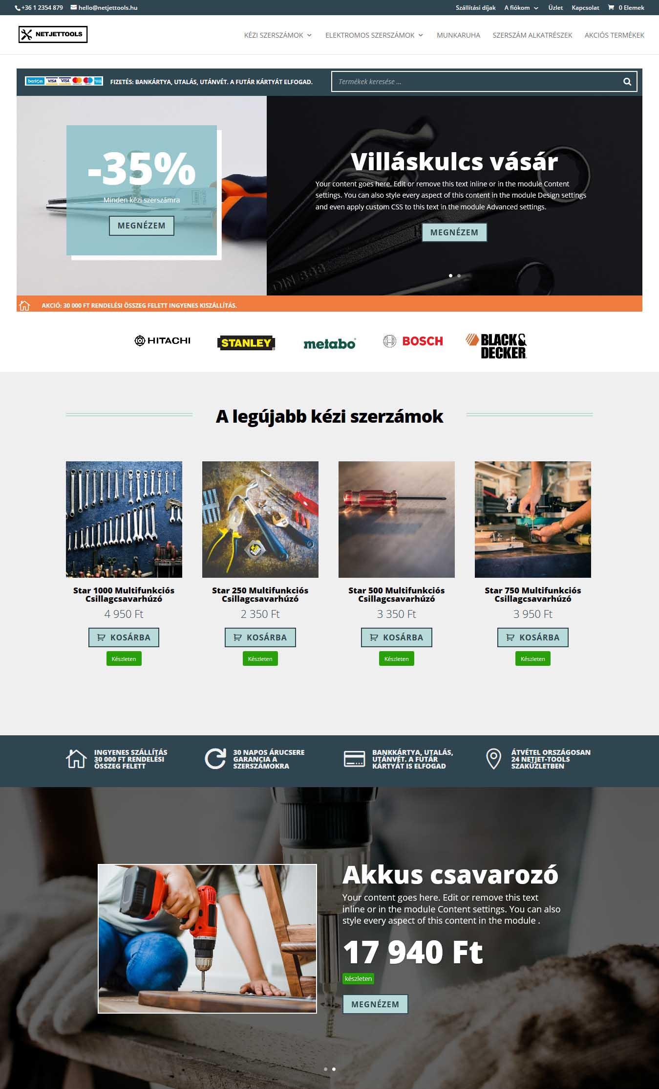 Webshop kezdőlap a Divi áruház moduljával