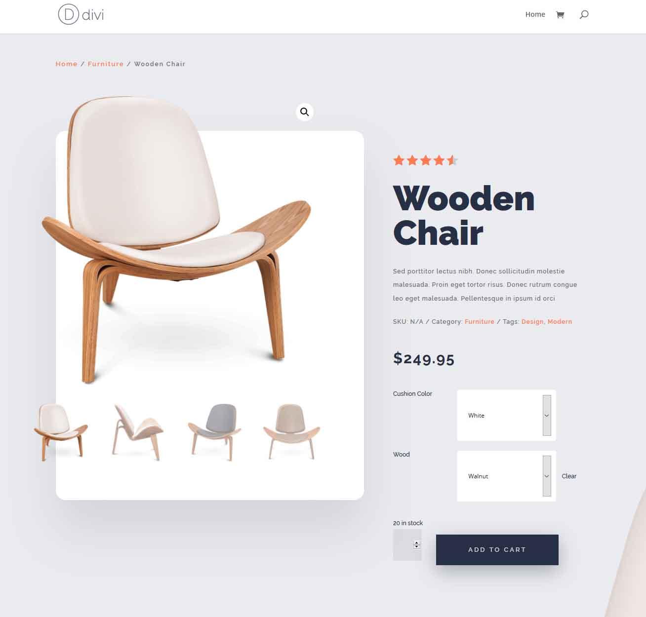 Divi Woo modulokkal felépített Woocommerce Product Page