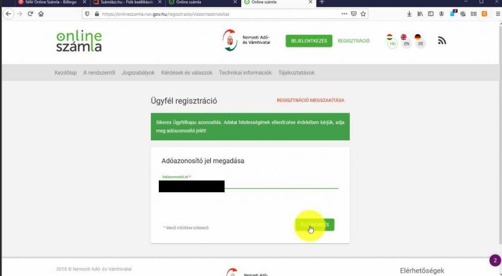 Nav online számla adóazonosító megadása