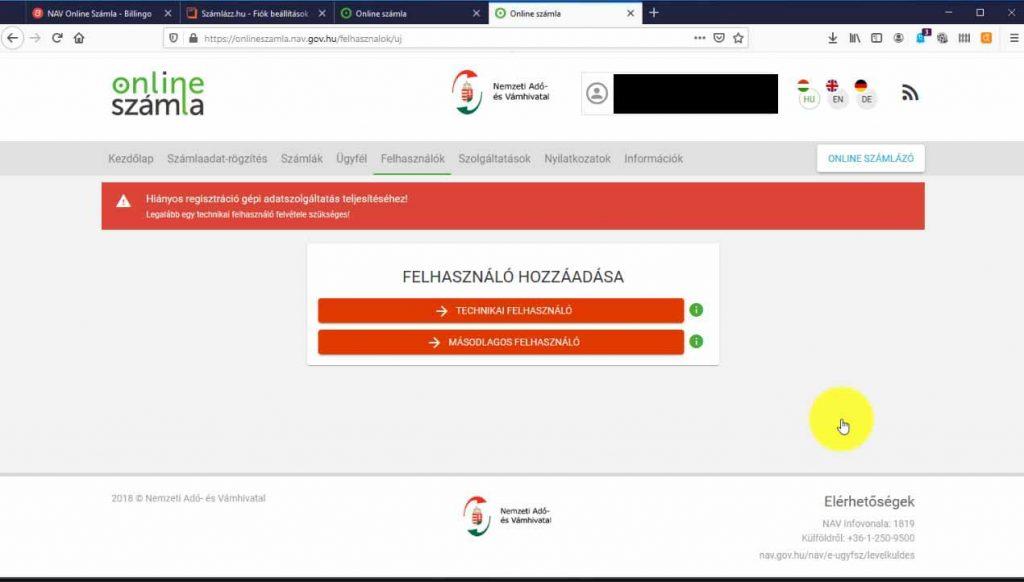 Nav online számla regisztráció technikai felhasználó felvétele szükséges