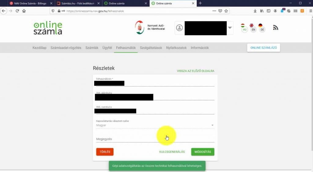 Nav online számla kulcsgenerálás
