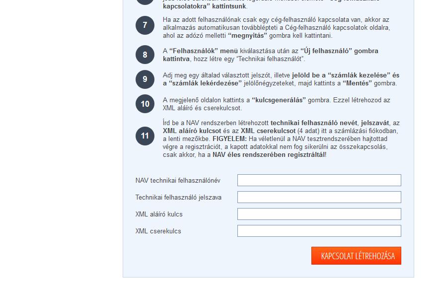 szamlazz.hu nav adatkapcsolat
